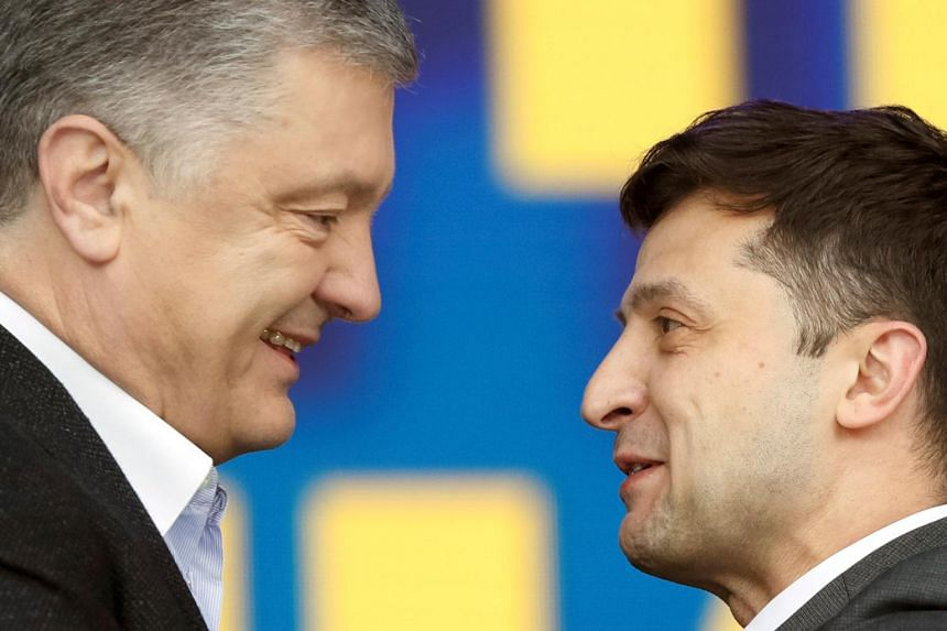 Incumbent Ukrainian President Petro Poroshenko (left) and his challenger, comedian Volodymyr Zelenskiy debated with each other on April 19, 2019.