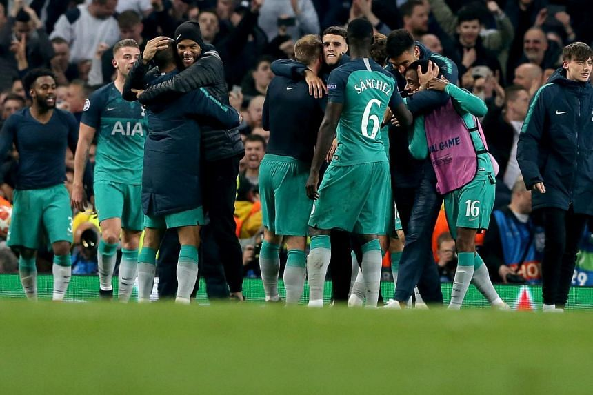 Tottenham Hotspur's players celebrate after the UEFA Champions League quarter-final second leg match between Manchester City and Tottenham Hotspur at the Etihad Stadium, Manchester, Britain, on April 17, 2019.