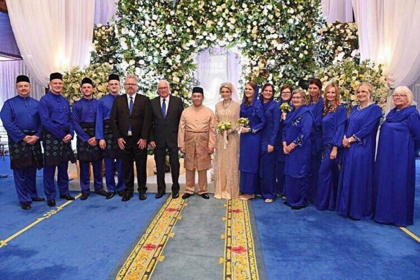 A royal wedding reception was held following the ceremony, which was attended by about 300 people, including the Kelantan royal family and the couple's close friends.