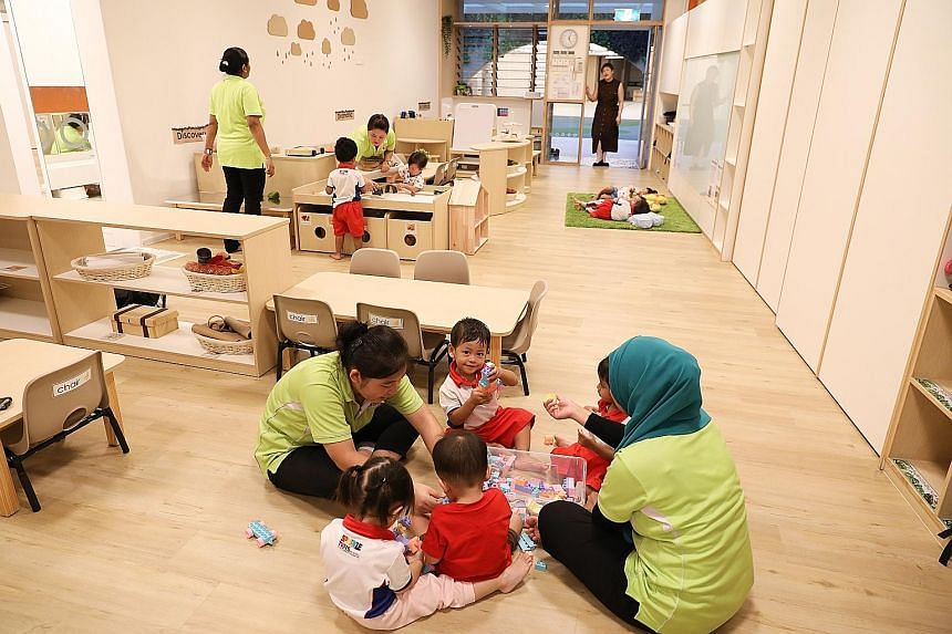 A toddler class for children aged 18 months to 24 months old in the Punggol North centre. The facility can take in 1,060 children and it now has 449 aged two months to four years old. ST PHOTO: ONG WEE JIN PCF Sparkletots' Early Years Centre in Pungg