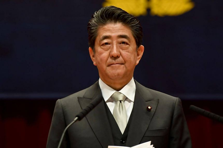 Japanese Prime Minister Shinzo Abe delivering a speech at a graduation ceremony in Yokosuka, Kanagawa, on March 17, 2019.