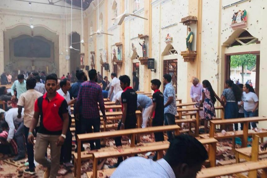 The scene at St Sebastian's Church at Katuwapitiya in Negombo, just outside Colombo, after a blast on April 21, 2019.
