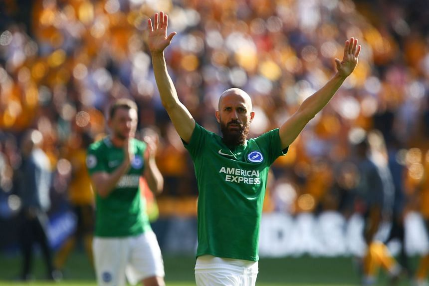 Brighton's Spanish defender Bruno Saltor waves to the crowd after the final whistle.