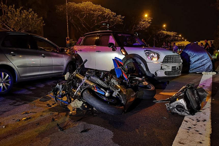 The scene of the accident on the Central Expressway on Friday night. The 28-year-old motorcyclist was pronounced dead