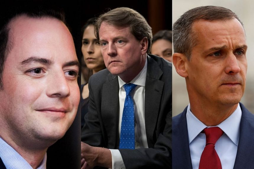 Witnesses such as (from left) Reince Priebus, Don McGahn and Corey Lewandowski could find themselves in the crosshairs.