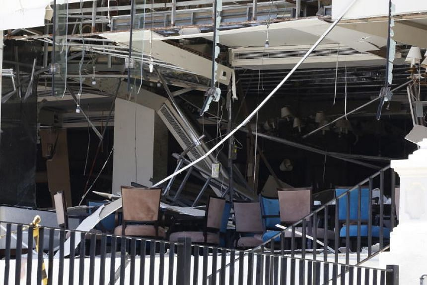Damage is seen at the Kingsbury Hotel in Colombo after it was hit by an explosion, on April 21, 2019.