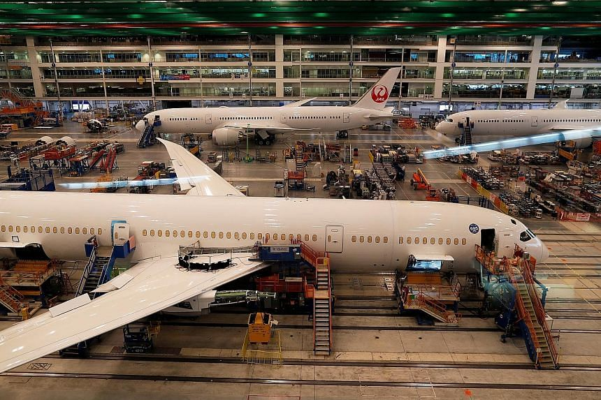 Boeing 787 Dreamliner jets getting the finishing touches in the final assembly area at the Boeing South Carolina factory in North Charleston in this March 25, 2018 file photo.