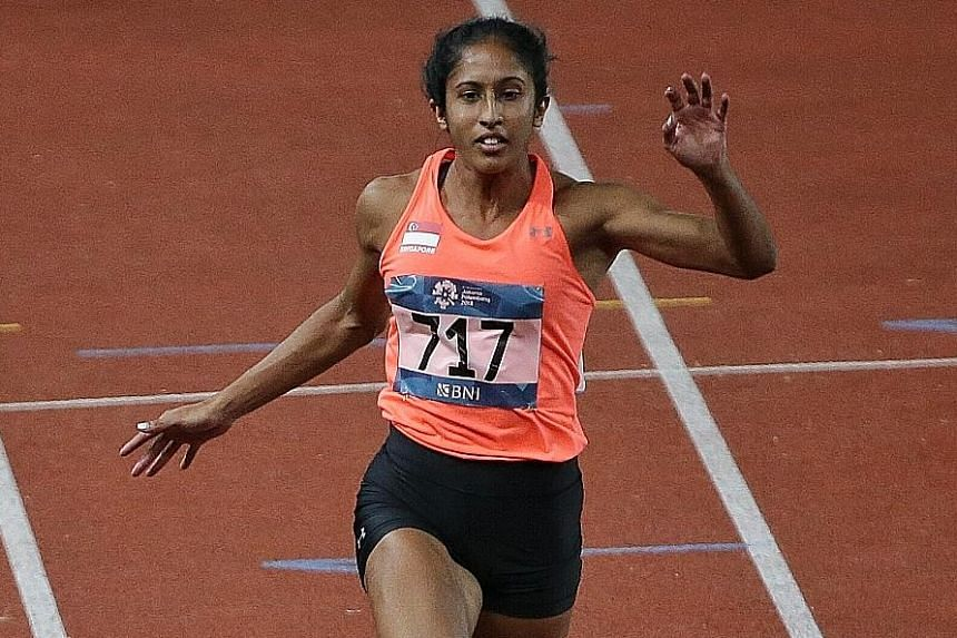 Shanti Pereira, pictured at last year's Asian Games, rewrote her own national record in her first official 100m race of the year at the Asian championships in Doha.