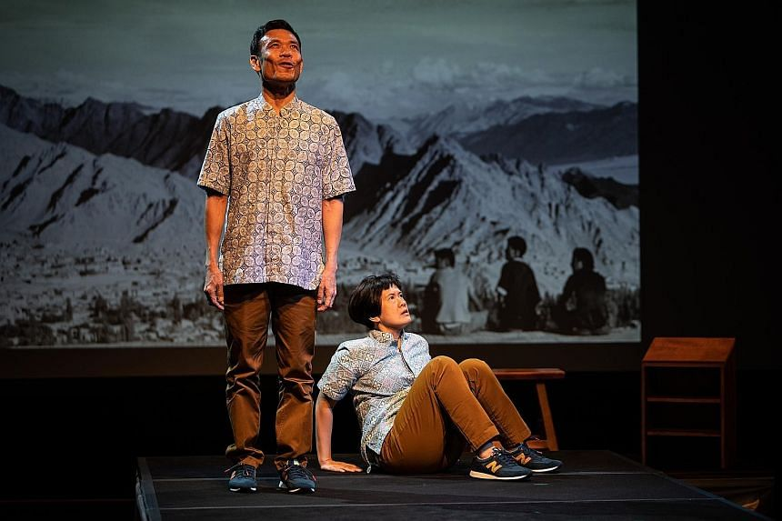 Loong Seng Onn (left) and Karen Tan perform in the English version of My Grandfather's Road.