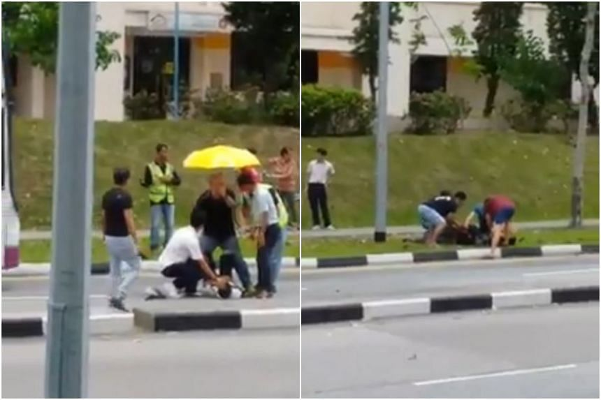 A 16-year-old pedestrian and a 26-year-old motorcyclist were both taken to Tan Tock Seng Hospital after the accident, which took place along Hougang Avenue 9.