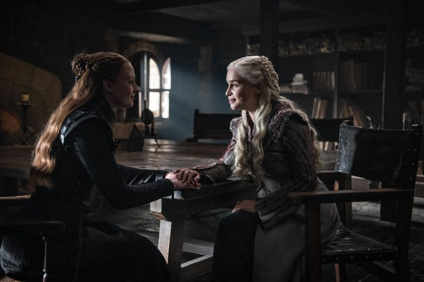 Sophie Turner and Emilia Clarke in a scene from the second episode of the eighth season of Game Of Thrones.