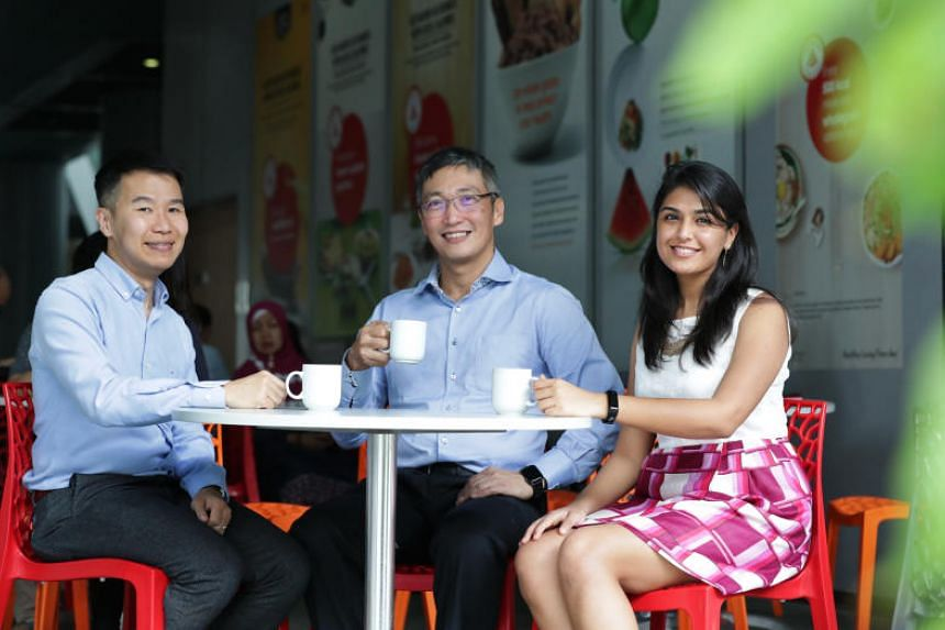 Health Promotion Board chief Zee Yoong Kang (centre), with colleagues William Neo, 40, assistant director of the National Healthy Population division and Shrutika Mangharam, 26, manager, Strategic Planning and Collaboration.