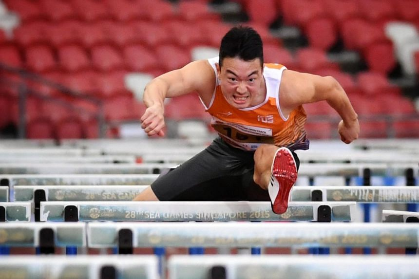 National hurdler Ang Chen Xiang set the national record of 14.25 seconds in the men's 110m hurdles event at the Asian Athletics Championships in Doha on April 23, 2019.