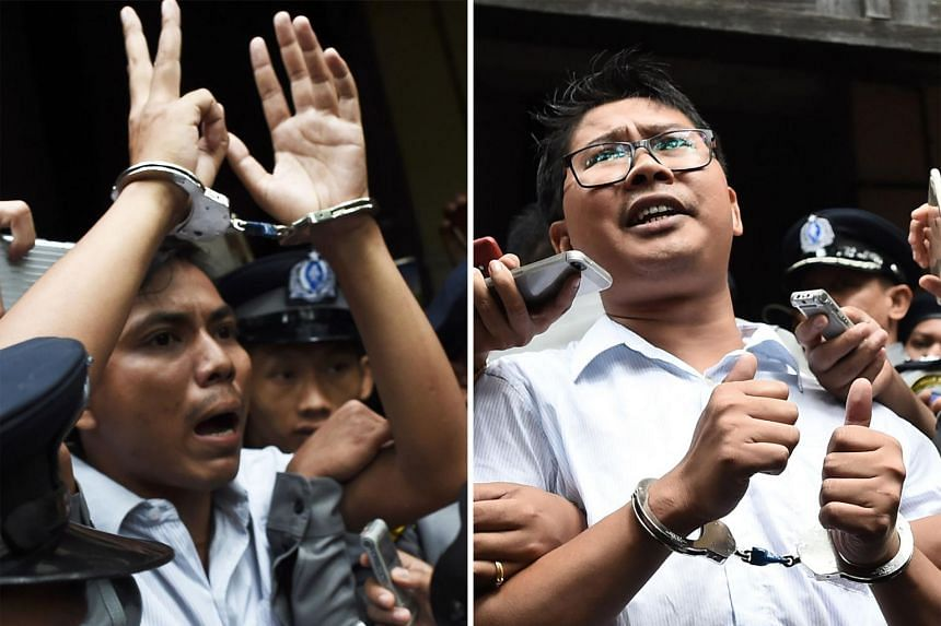 Wa Lone (right) and Kyaw Soe Oo have spent more than 16 months in detention since they were arrested in December 2017.