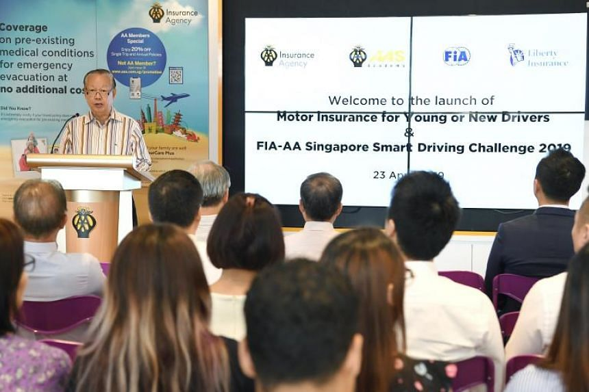 Automobile Association of Singapore president Bernard Tay speaking at the launch of the Young and Inexperienced Drivers Scheme on April 23, 2019.