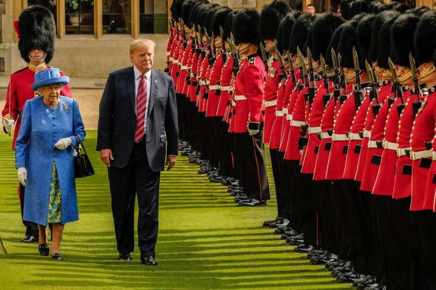 Britain's Queen Elizabeth and US President Donald Trump at a welcome ceremony at Windsor Castle in Britain on July 13, 2018.