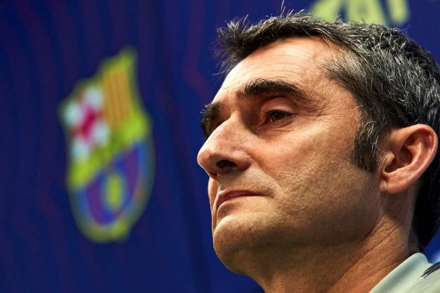 FC Barcelona's head coach Ernesto Valverde reacts during a press conference held at Joan Gamper sport complex in Barcelona, Spain, on April 22, 2019, on the eve of their Spanish LaLiga soccer match against Deportivo Alaves.