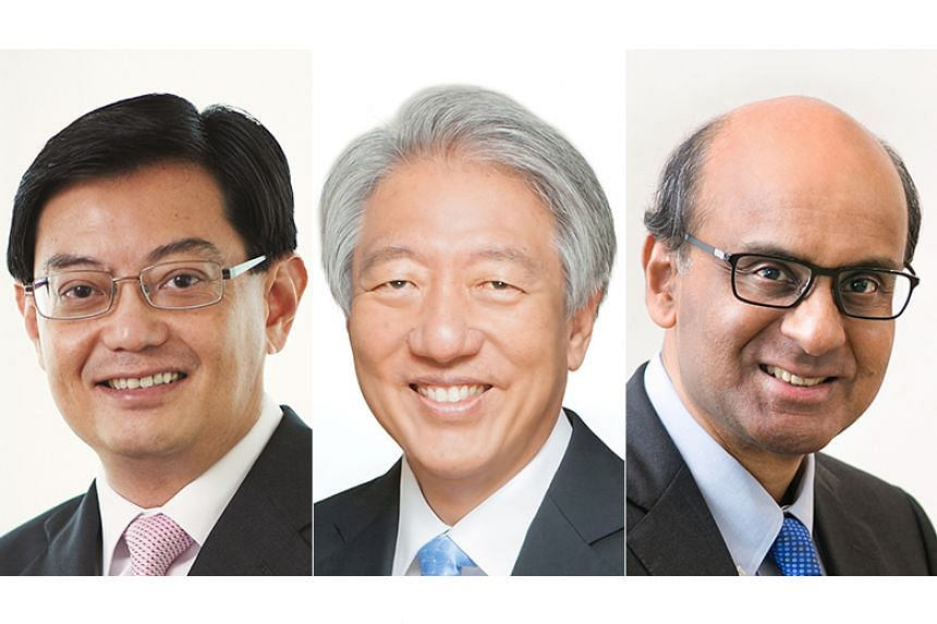 (From left) Finance Minister Heng Swee Keat will become Deputy Prime Minister from May 1, 2019, while both existing DPMs - Mr Teo Chee Hean and Mr Tharman Shanmugaratnam - will relinquish their appointments.