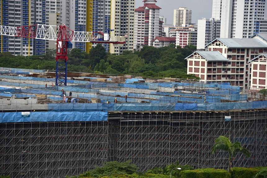 A construction site along Sin Ming Ave, on April 22, 2019.