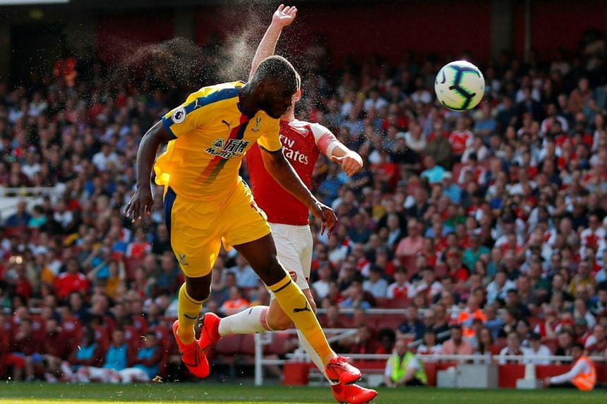 Shkodran Mustafi was too slow to catch Crystal Palace's Christian Benteke, who scored their first goal from a free kick. The visitors won 3-2 at the Emirates Stadium.
