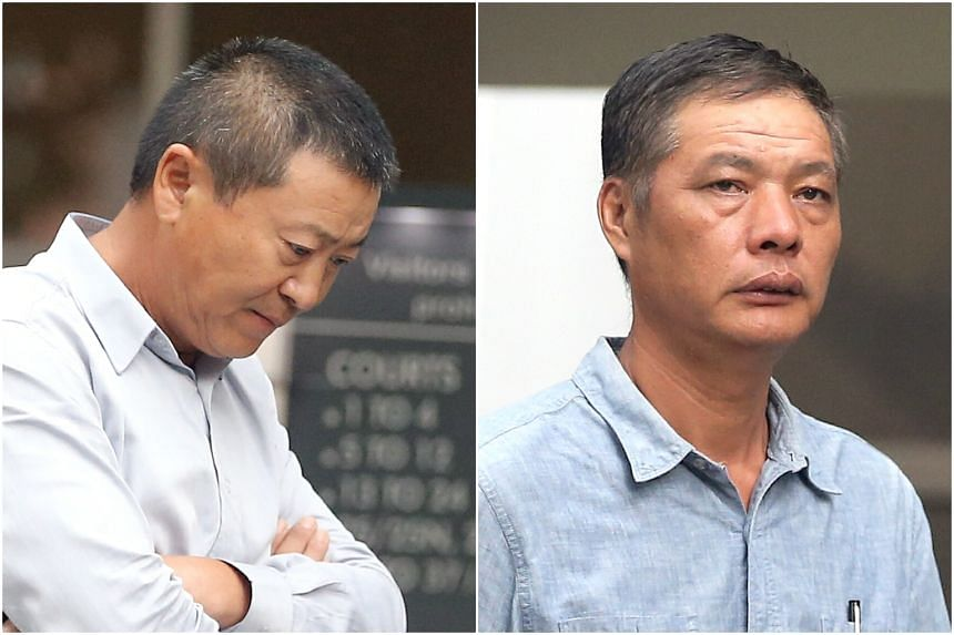 Chen Ming (left) and Shi Baoyi, the Singaporean directors of Genocean Enterprises, pleaded guilty to converting private residential properties into workers' dormitories without planning permission, and that they had housed foreign workers in overcrow