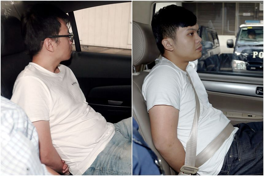Chien Jui Hung (left) and Lin Yu Fan, who acted as mules in the scam for the money transfers, were sentenced to 28 months and 22 months in jail, respectively, for money laundering.