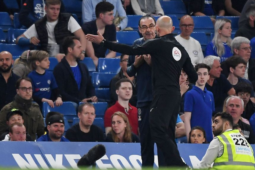Chelsea manager Maurizio Sarri being sent off to the stands during Chelsea's 2-2 draw with Burnley in a Premier League soccer match at Stamford Bridge in London on April 22, 2019.