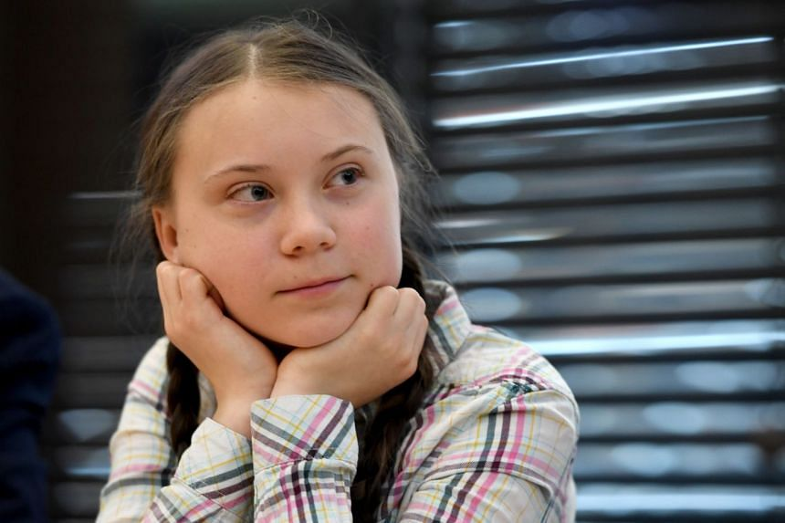 Greta Thunberg at the Houses of Parliament in London.