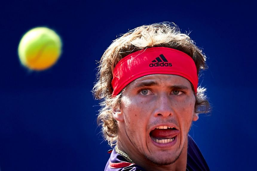Zverev in action against Nicolas Jarry of Chile.