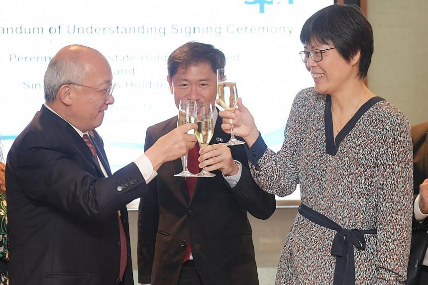 (From left) Perennial chief executive Pua Seck Guan, SPH deputy CEO Anthony Tan and SPH head of Chinese Media Group Lee Huay Leng at the MOU signing ceremony yesterday.