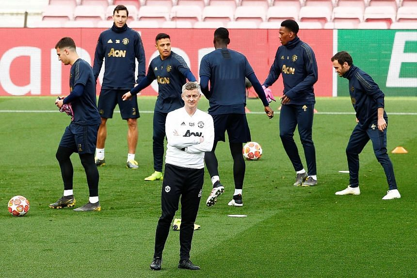 Ole Gunnar Solskjaer leading training in Barcelona last week before United's 3-0 loss in the second leg of the Champions League quarter-finals to exit 4-0 on aggregate. They fared worse at the weekend, falling 4-0 at Everton in the Premier League and