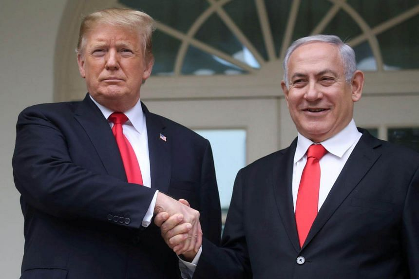 Prime Minister Benjamin Netanyahu (right) said that Israelis were deeply moved when US President Donald Trump recognised Israel's sovereignty over the Golan Heights.