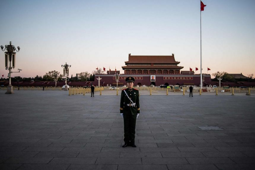 A paramilitary policeman at Tiananmen Square near Beijing's Great Hall of the People, on March 15, 2019.