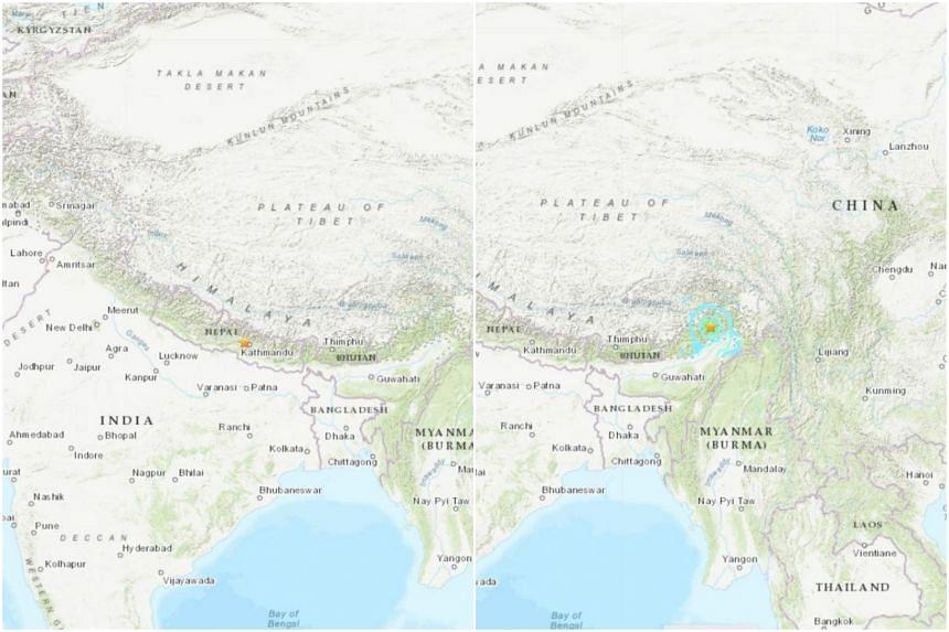 Nepal was struck by a magnitude-5.2 earthquake (left) while a 5.9-magnitude earthquake struck India's north-eastern state of Arunachal Pradesh.