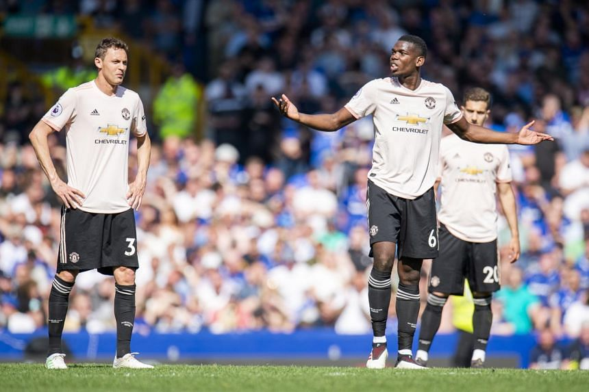Manchester United's Paul Pogba reacts during the English Premier League soccer match between Everton and Manchester United held at Goodison Park in Liverpool, on April 21, 2019.