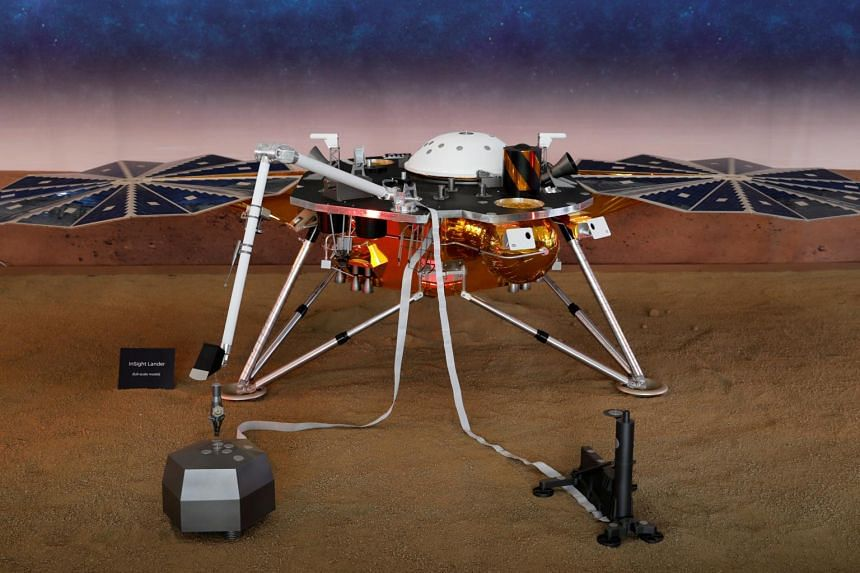 A life-sized model of Nasa's robotic probe InSight that detected and measured the 'marsquake'.