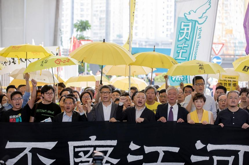 Occupy Central activists outside the West Kowloon Magistrates Court in Hong Kong, China, on April 24, 2019.