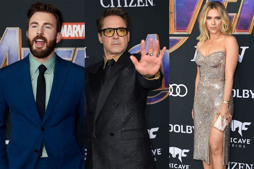 Stars of Avengers: Endgame who turned up at the film's premiere at the Los Angeles Convention Centre on Monday included (from left) Chris Evans, Robert Downey Jr and Scarlett Johansson.