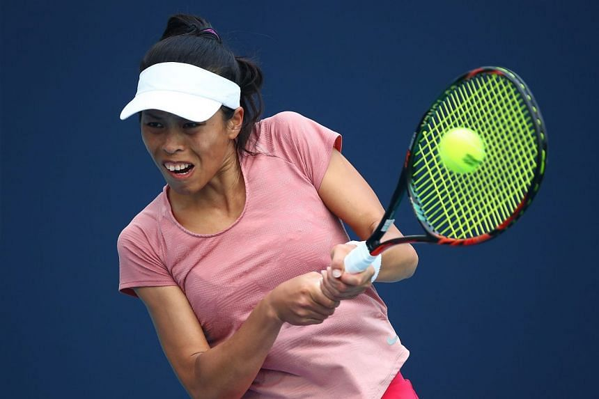 Hsieh (above, at the Miami Open) came from behind to beat China's Wang Qiang in three sets 4-6, 6-3, 6-4.