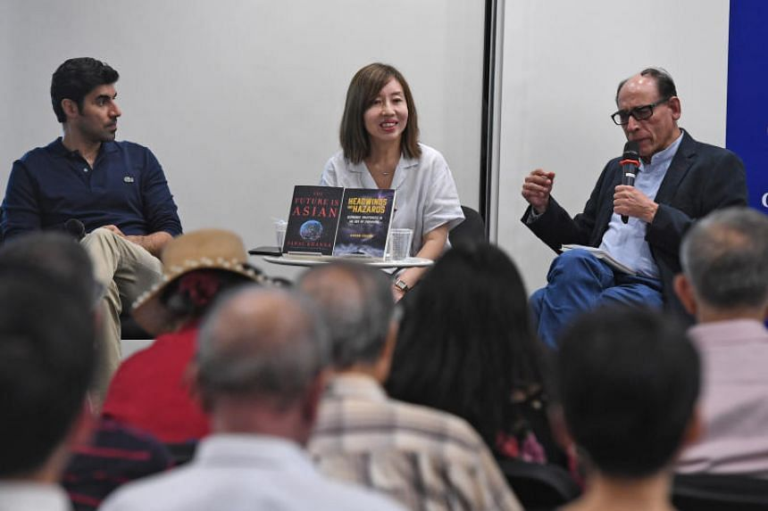 (From left) Global strategy advisor Parag Khanna, The Straits Times opinion editor Audrey Quek and The Straits Times associate editor Vikram Khanna at The Straits Times Book Club held at the National Library on April 24, 2019.