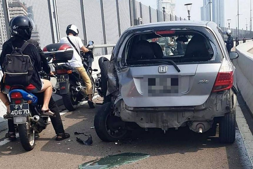 The accident involving a motorcycle and a Singapore-registered car occurred on the Causeway on April 21, 2019.