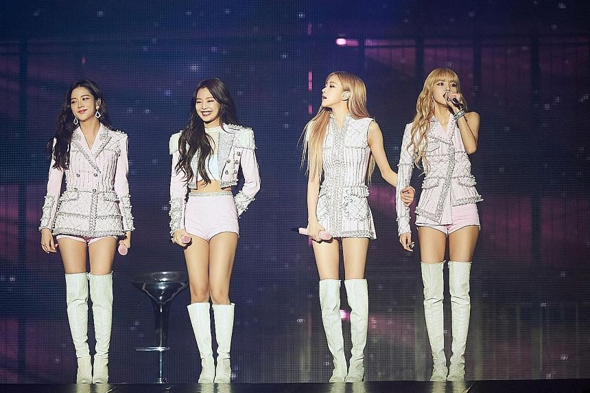 Top: South Korean girl group Blackpink members (from left) Jisoo, Jennie, Rose and Lisa, who is Thai, performing at a concert held on Feb 15 in Singapore. Above: Members of South Korean boyband GOT7 (from left) Junior, Youngjae, JB, Bambam, Mark, Yug