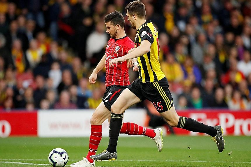 Southampton's Shane Long scoring his team's goal in the 1-1 Premier League draw at Watford on Tuesday. He beat the fastest league goal record set by Ledley King (9.82sec) in 2000.
