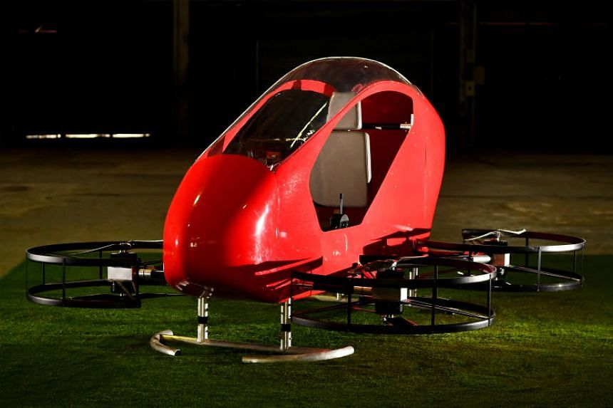 The personal aerial vehicle, named Crimson S8, will not be launched in Singapore due to regulations.