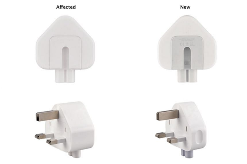The affected three-prong plug adapter (left) is white, with no letters on the inside slot where it attaches to the main Apple power adapter.