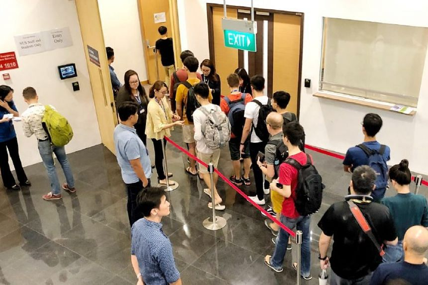 National University of Singapore students queueing for a campus townhall on April 25, 2019.