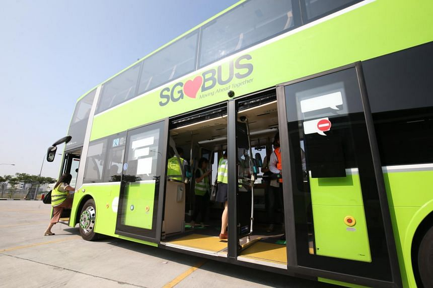 A double-decker bus with three doors hit the road on March 13, 2017, as part of a study by the Land Transport Authority to evaluate its suitability for Singapore's use.
