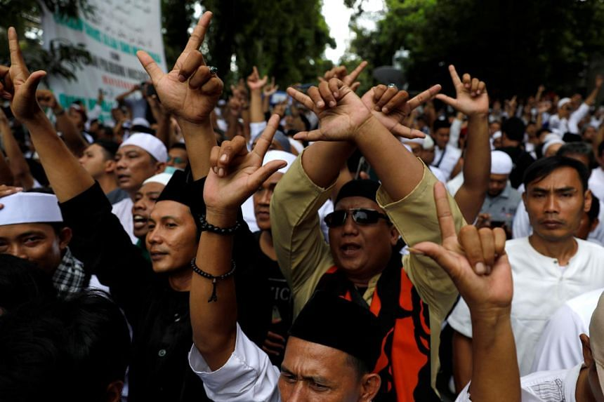 Supporters of Indonesia's presidential candidate Prabowo Subianto and his running mate Sandiaga Uno at a rally in Jakarta, Indonesia, on April 19, 2019.
