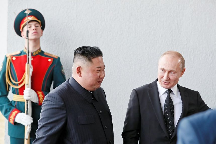 North Korean leader Kim Jong Un and Russia President Vladimir Putin at the Far Eastern Federal University campus at Russky Island in the far eastern city of Vladivostok, Russia, on April 25, 2019.