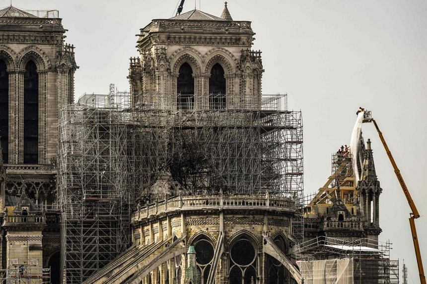 The Notre Dame Cathedral in Paris on April 17, 2019, three days after a fire that devastated the building in the centre of the French capital.
